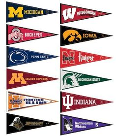 Big Ten Conference College Pennant Set by College Flags and Banners Co., http://www.amazon.com/dp/B004WDV6SG/ref=cm_sw_r_pi_dp_hZ-nrb0GM2GJ5