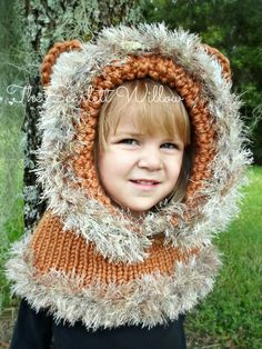 Hear this little Lion roar!! This adorable hand knit cowl/hood is not only fun but super warm for the coldest of winter days. Easy to slip on and off and loose around the face, very comfortable and soft. Can be made without the fur trim on the bottom for a more boy-ish look! Also can be made it custom colors, please message me to discuss or put color options in check out notes!