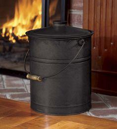 Galvanized Steel Ash Bucket with Handle, Lid and Double-Layer Bottom