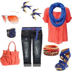 """""""Blue and coral"""" by rosa-lauber on Polyvore"""