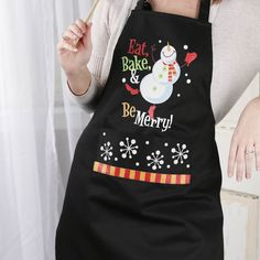 """Eat, Bake, & Be Merry"" Adult Christmas Apron - Textiles and Linens - Home Decor"