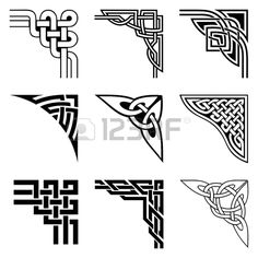 set of ornamental corners in celtic style Stock Vector