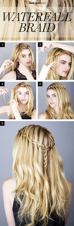 Hair How-To: The Waterfall Braid (click for step by step instructions)
