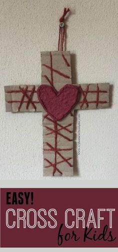 Easy Cross Craft for Kids - This is such a cute, fun to make craft for kids for Easter (Sunday school lessons, fine motor, toddler, preschool, kindergarten)