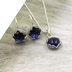 """THOMAS SABO STERLING SILVER BLUE CIRCLE CRYSTAL DROP EARRINGS & NECKLACE 16.5"""""""
