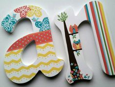 Wooden Letters  Nursery Letters  Playroom Letters  Wedding Letters  Teen Letters  Baby Gift  Decorative Letters  Painted Initials  Hanging