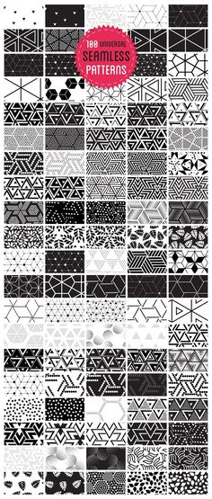 100 universal seamless patterns for your next design projects. by softulka on @creativemarket