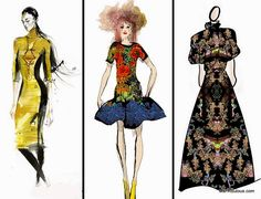 #nyfw fw15 inspiration, fashion sketches from Angel Sanchez Christian Lacroix Vivienne Tam