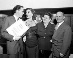 """Frank, Ava, Dolly, and Marty Sinatra at the """"Meet Danny Wilson"""" premiere in 1951."""