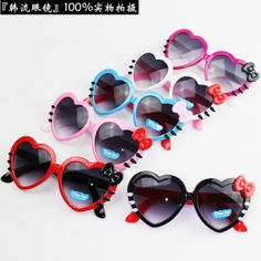 Free shipping 2014 Children heart sunglasses love shaped bow boy girl black blue sun-shading baby sunglasses