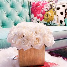The White Rose arrangement is extremely versatile. It can be paired with any piece of furniture and add a simple sophistication to the room. Here it is a perfect compliment to the Halle settee by Joan