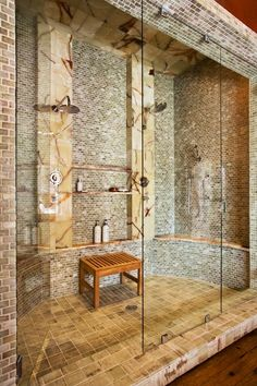 """This was originally titled """"Master bathroom shower! """"Master bathroom/bedroom/living room/racquetball court/recording studio/home office/home theater room!"""" Oh to have money! Dream Bathrooms, Dream Rooms, Beautiful Bathrooms, Custom Bathrooms, Master Bathroom Shower, Bathroom Spa, Master Bathrooms, Master Bedroom, Master Baths"""