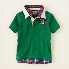 faux-layered patch rugby shirt
