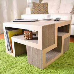 Home Furniture. Surprising Furniture Design Made Out Of Recycled Materials Ideas. Recycled Furniture Design Pictures with Cubes Table and Modular Base Shelves