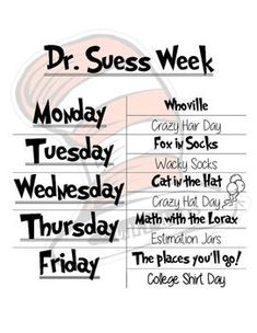 This+is+a+week+of+activities+for+Dr.+Seuss'+birthday.+ #daycareideas