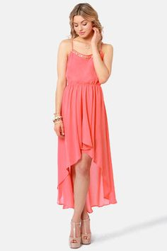 Check it out from Lulus.com! If you've been searching for that extra special look, then the Beading Ticket Coral High-Low Dress is just what you