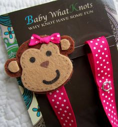 Hey, I found this really awesome Etsy listing at https://www.etsy.com/listing/125319151/baby-girl-pacifier-clip-monkey-pacifier