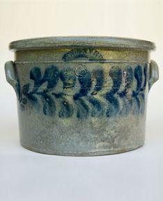 Rare American Blue Decorated Stoneware  Beaver County Pennsylvania Cobalt Decorated 3 Gallon Cake Crock