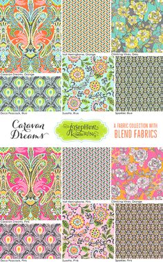 Josephine Kimberling's 'Caravan Dreams' fabric collection with Blend Fabrics! 6 prints in 2 colorways for a total of 12 different fabrics