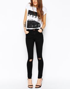 Image 1 ofASOS Ridley Black Skinny Jeans in Rip and Destroy Busted Knees