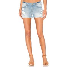 FRAME Denim Le Cutoff Short (140 CAD) ❤ liked on Polyvore featuring shorts, jean shorts, frayed shorts, short shorts, ripped jean shorts and distressed shorts