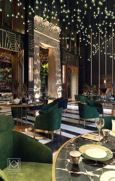 Modern Restaurant, Deco Restaurant, Luxury Restaurant, Rooftop Restaurant, Restaurant Concept, Bar Interior Design, Restaurant Interior Design, Commercial Interior Design, Cafe Design