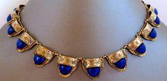 Vintage Art Deco Signed Czech Egyptian Revival Lapis Glass Necklace