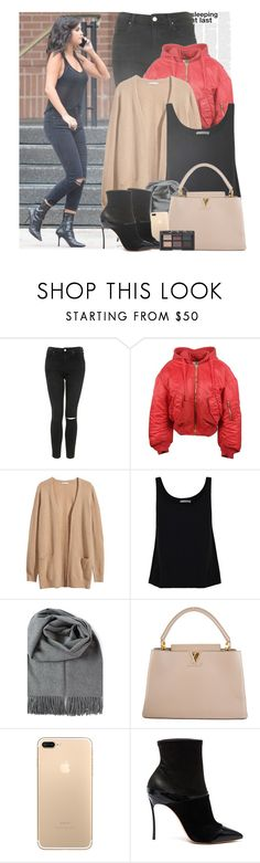 """""""Selena Gomez having a break in the set of The Big Short movie."""" by gomezrevivals ❤ liked on Polyvore featuring Topshop, Vetements, H&M, Vince, Louis Vuitton, Casadei and NARS Cosmetics"""