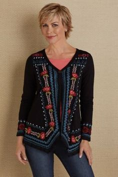 Quin Embroidered Cardi from Soft Surroundings