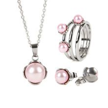 Hot Sell 4 Color Trendy Stainless Steel Woman New Fashion Pearl Necklace Bridal African Wedding Party Jewelry Sets OSS-010(China (Mainland))