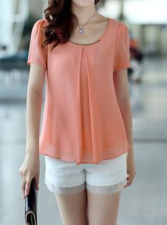 Simple Scoop Neck Short Puff Sleeve Solid Color Chiffon Blouse For Women