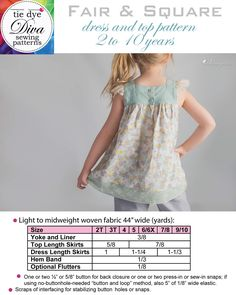 Fair & Square - Square Neck Top and Dress Pattern for Girls - Tie Dye Diva Patterns Plus Size Sewing Patterns, Clothing Patterns, Square Neckline Dress, Sundress Pattern, Dolly Dress, Square Neck Top, Make Your Own Clothes, Girl Dress Patterns, Cute Kids Fashion