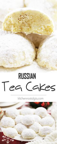 Russian Tea Cakes - melt-in-your-mouth snowball cookies to sweeten every holiday celebration. Russian Desserts, Russian Recipes, Tea Cakes, Bundt Cakes, Roll Cookies, Cake Cookies, Cupcakes, Holiday Cookie Recipes, Holiday Cookies