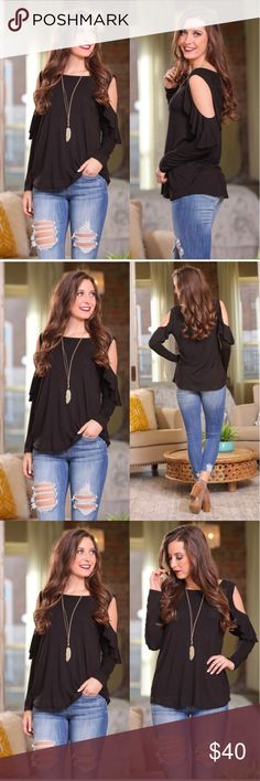 "•NEW ARRIVAL• Ruffle sleeve cold shoulder tunic Black ruffle sleeve cold shoulder tunic  MEASUREMENTS S - Bust: 18"" Length: 27"" M - Bust: 19"" Length: 28"" L - Bust: 20"" Length: 29""  95% Rayon, 5% Spandex Infinity Raine Tops Tunics"