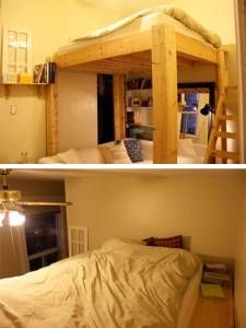 "Loft bed with shelf by the wall.  I like the idea of a place for things.  Maybe as a ""headboard""."