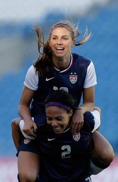 Alex Morgan and Sydney celebrating after 2 goals in the Algrave Cup!