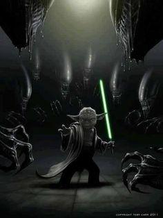 Crossover: Yoda vs Aliens http://www.jedipedia.net/wiki/Yoda (Vielleicht gewinnt ja Yoda gegen die, nachdem das gegen Dooku und Palpatine nicht so gut lief...)