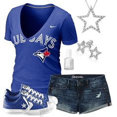 Toronto Blue Jays Summer All Star Outfit Baseball Stuff, Baseball Mom, Go Blue, Color Blue, Outfits With Converse, Cute Outfits, All Star Outfit, Blue Jays Game, Women's Clothes