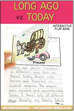 These long ago and today activities are perfect for Kindergarten, first, and 2nd grade students. Included in this long ago unit are anchor charts, sorts, student worksheets and an interactive social studies flap book. Get a freebie in this blog post! #longagotoday #informativewriting #firstgrade