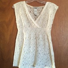 NEW Creme V Neck Floral Top (Size S) Size Small. Never worn. Cotton and Polyester. V Neck. Off white/Creme color. See through. Pinky Tops Blouses