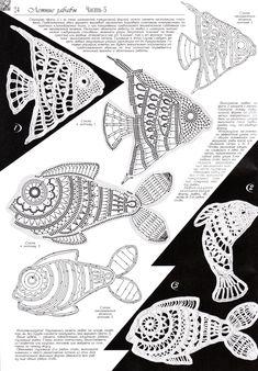 Ажурные рыбки крючком fish
