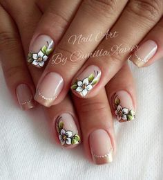 Unhas com Flores Flower Nail Designs, Flower Nail Art, Nail Art Designs, Maroon Nail Designs, Chic Nails, Stylish Nails, Gorgeous Nails, Pretty Nails, Nail Decorations