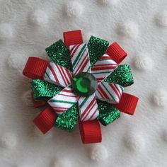 Loopy Christmas Bow Hair Clip in Red White and by JillbirdBows, $6.00