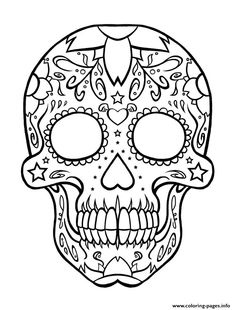 Hundreds Of Free Printable Xmas Coloring Pages And Activity Sheets For Children All Ages Happy Print Sugar Skull