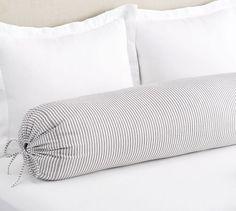 The Emily & Meritt Ticking Stripe Bolster Pillow Bolster Covers, Bolster Pillow, Throw Pillow Covers, Duvet Covers, Dyi Pillows, Emily And Meritt, Bedroom False Ceiling Design, Small Entryways, Frame Wall Decor