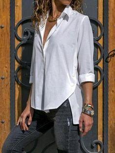 Women Casual Turn down collar Plain Long Sleeve Blouses