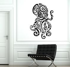 Wall Decal Octopus Ocean Sea Ornament Tribal Mural by BoldArtsy