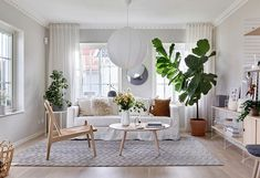 〚 New home, traditional comfort: another beautiful Swedish cottage 〛 ◾ Photos ◾ Ideas ◾ Design #livingroom #plants #white #interior #design #homedecor #home #decor #interiordesign #idea #inspiration #cozy #living #space #style
