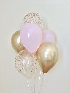 Baby Pink and Chrome Gold Confetti Look Latex Balloon~Pink & Gold First Birthday~Baby Shower~Bridal Shower~Wedding~Pink Gold Decor~Chrome