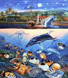 Tropical Sea Life Summer Art, Ocean Waves, Under The Sea, Dolphins, Underwater, Aquarium, Tropical, Artist, Painting